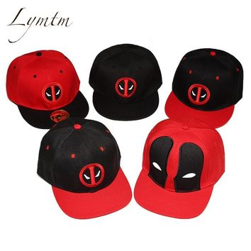 [Lymtm] Unisex Cotton Outdoor Anime Comic Marvel Deadpool Snapback Summer Hip Hop Embroidery Cap Hat Baseball Cap For Men Women