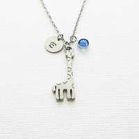 Giraffe Necklace, Zoo Animal, Gift For A Child, Birthday, Swarovski Birthstone, Silver Jewelry, Personalized Monogram, Hand Stamped Initial
