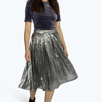 Boutique Cindy Sequin Full Midi Skirt
