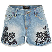 River Island Girls blue embroidered denim shorts
