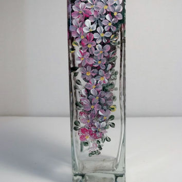 Glass Vase Hand Painted Original Design My Garden Hydrangeas