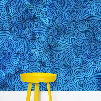 'Turquoise blue swirls doodles' Wallpaper by Savousepate on miPic