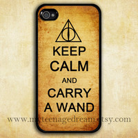 iPhone 4 Case, iphone 4s case, keep calm and carry a wand black iphone 4 case, harry potter, Deathly Hallows