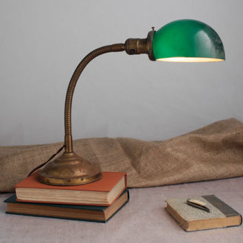 Industrial Gooseneck Desk Lamp - Glass Shade