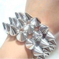 New Arrival Unique design Punk Style Elastic Three-layer Rivets Bangle Bracelet