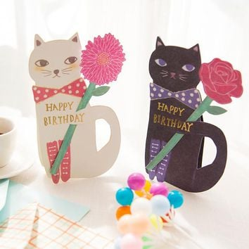 Funny Cat And Flower Birthday Card Envelope Set 19*12.4cm DIY Message Card Bookmark Free Shipping 1 Piece 2017 Gift