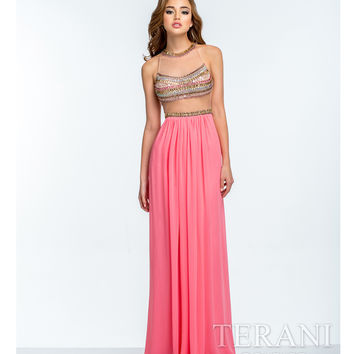 Terani 151P0034 Coral & Gold Illusion Two Piece Gown 2015 Prom Dresses
