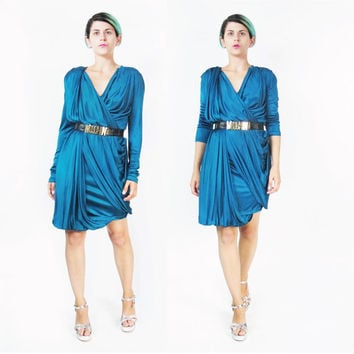 90s Jean Paul Gaultier Dress Avant Garde Draped Dress Long Sleeve Dress Blue Green Teal Dress Soleil Minimalist Grecian Jersey Dress (S/M)