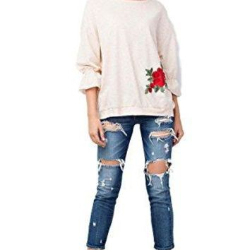 Easel Clothing Women's French Terry Tunic with 3/4 Bubble Sleeves and Rose Embroidered Appliques