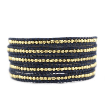 CHAN LUU ~ Gold & Black Leather Wrap