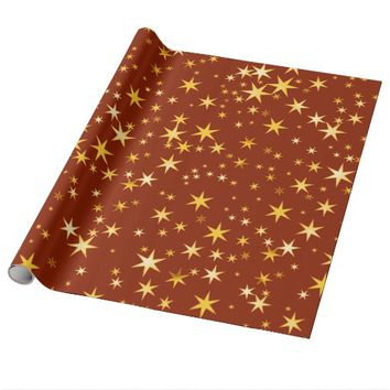 Red Stars Texture Holidays Glossy Wrapping Paper