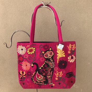 Sugar Skull Cat Embroidered Tote Hot Pink