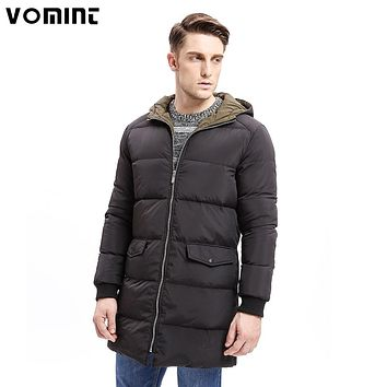 Men Down Hoodie Coat Heavy-weight Zipper Warm Long Jackets Solid Color Basic Pockets