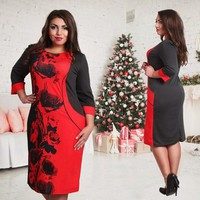 5XL 6XL Large Size 2017 Summer Dress Big Size Printed Dress Pink Red Straight office Dresses Plus Size Women Clothing Vestidos
