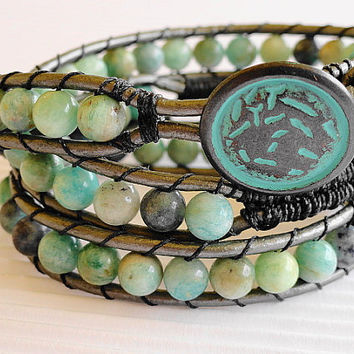 Amazonite leather wrap bracelet X3 beaded wrap shabby bohemian chan luu