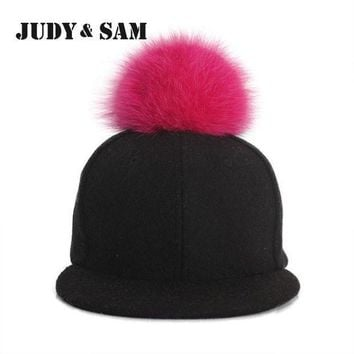 ESBG8W Amazing Winter Genuine Fluffy Fox Fur Pompon Baseball Hats for Boys and Girls Fall Warm Fur Ball Cap Snapback