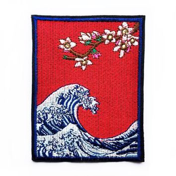 Patches - Large Patch - Japanese Patches Sea Patch Wave Patch Art Patches Large Patches - Large Sew on Patches - Japanese Applique Patch