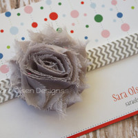 Rosette Headband, Gray Grey White Chevron, Shabby Chic Frayed Rosette, Elastic Headband, Baby Headband, Chevron FOE Headband