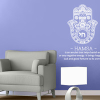 Wall Decal Vinyl Sticker Decals Art Decor Design Hamsa Hand sign Amulet  Indian Buddha Ganesh Lotos Modern Bedroom Dorm Office Mural(r1052)