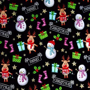 Delicated Christmas Gift Snowman Environmental Printing and Dyeing 100% Cotton Fabric quilting home decor patchwork 50x140cm