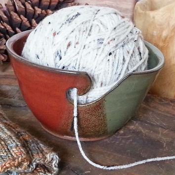 Rustic Earthy Yarn Bowl with Holes Large Size Fits Whole Skein READY to SHIP