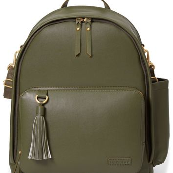 Skip Hop Greenwich Simply Chic Baby Diaper Bag Backpack w/ Changing Pad Olive