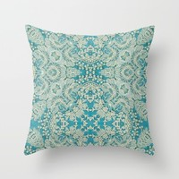 floral lace on blue Throw Pillow by clemm