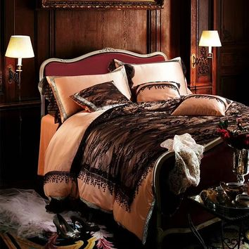Cool Cotton Imitate silk Luxury Brown Black Lace Romantic Bedding Sets Girls Queen King Soft Duvet Cover Bed Sheet set PillowcaseAT_93_12