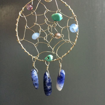 Wire-wrapped beaded dream-catcher pendant