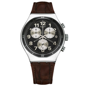 Swatch YVS400 Men's Browned Irony Chrono Black Dial Leather Strap Watch