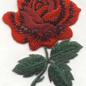 Red ROSE Iron on Applique Iron or Sew On patch by Cedar Creek patch Shop on Etsy