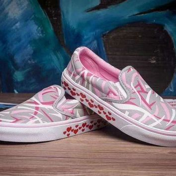 CREYUP0 vans slip on canvas shoes hearts pattern flats sneakers sport shoes