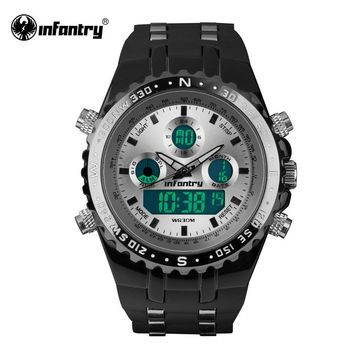 INFANTRY Mens Quartz-watches Aviator LCD Digital Watch 2017 Brand Sports Rubber Analog Male Clock White Relogio Masculino