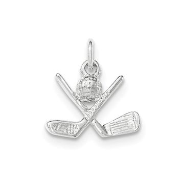 Sterling Silver Polished Golf Clubs & Golf Ball Pendant