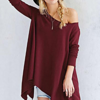 Irregular Hem Plain Loose Sweater B0013417