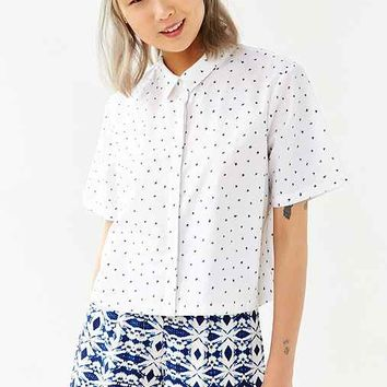 Native Youth Scratch Print Cropped Button-Down Shirt