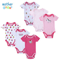 2015 Newborn Baby Romper  Set 100% Cotton 6 PCS Fashion Roupas De Bebe Baby Body Bebe Boy Girls Footed Baby Clothing Jumpsuits
