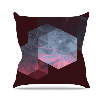 "Cafelab ""Dramatic Geometry"" Black Pink Geometric Throw Pillow"