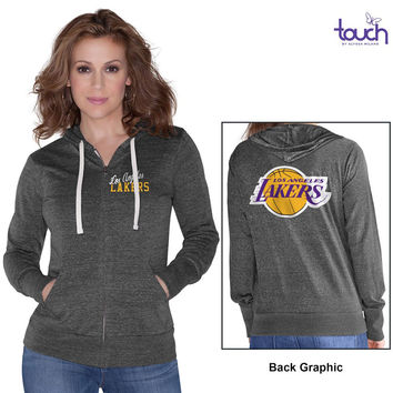 Women's Los Angeles Lakers Touch by Alyssa Milano Black Free Agent Tri-Blend Full Zip Hoodie