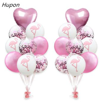 18pcs Pink Confetti Balloon Foil Baloons Mermaid Flamingo Unicorn Party Latex Balloons Birthday Party Decorations Kids Favors