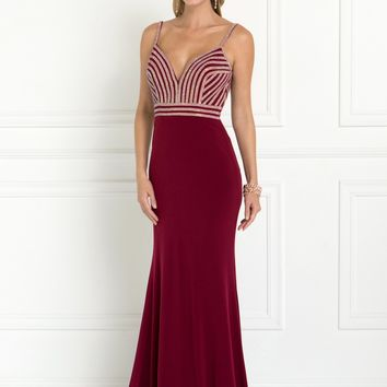 Long sexy red formal dress Gls 1562