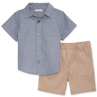 First Impressions Baby Boys' 2-Piece Shirt & Twill Shorts Set