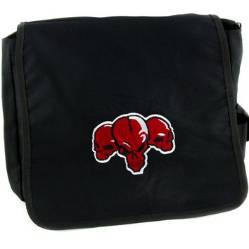 Demon Red Skulls Messenger Bag Cross Body Alternative Skater Clothing School Bag