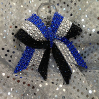 1blue silver black stripe Rhinestone Bling Keychain Holders Bow Ribbon Cheer Dance