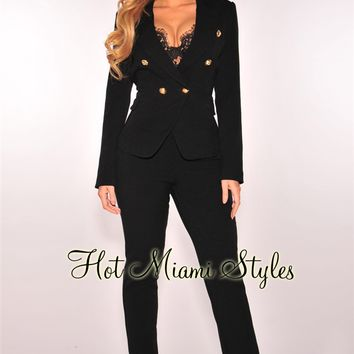 Black Blazer Pant Suit Two Piece Set