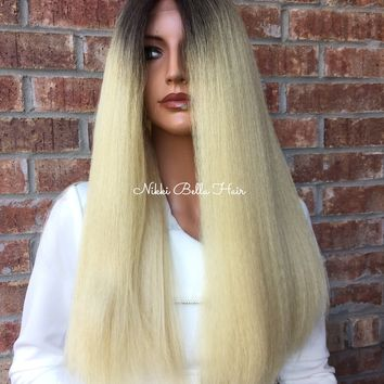 Blond Ombre' Thick Hair Swiss Lace Front Wig - Nashville