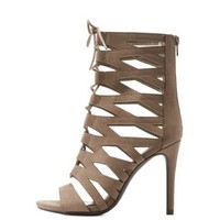 Deep Taupe Faux Suede Caged Sandals by Charlotte Russe