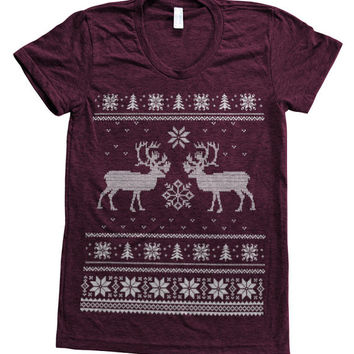 Ugly Christmas Sweater  Women Tri-blend American Apparel Track Shirt Hand Screen Printed