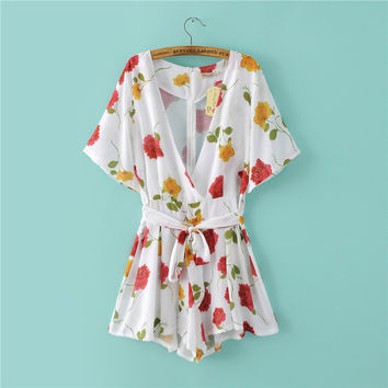 Summer Women's Fashion Sexy V-neck Floral Print Romper [4918854788]