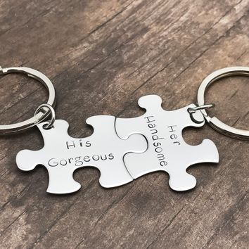 His Gorgeous Her handsome Keychains, couples keychains, hand stamped gift , Anniversary Gift